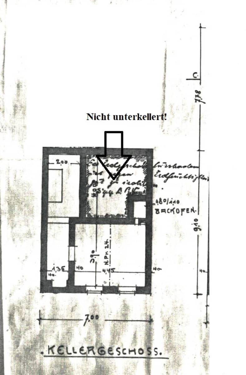 alte Grundriss Zeichnung Keller
