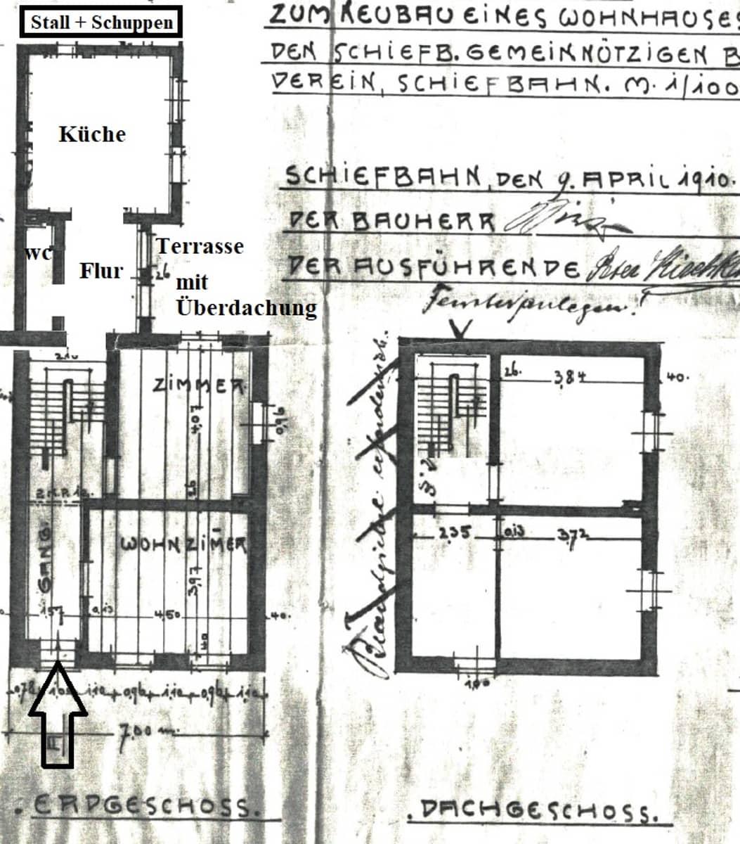 alte Grundriss Zeichnung Erdgeschoss und Obergeschoss